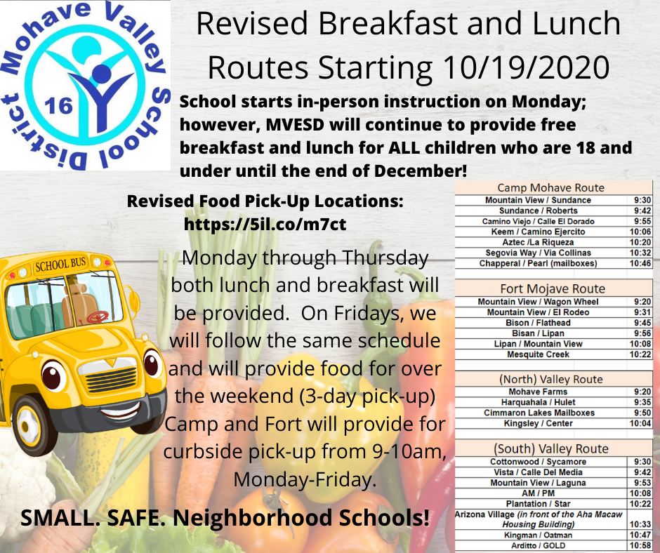 Breakfast and Lunch Food Distribution Starting 10/19
