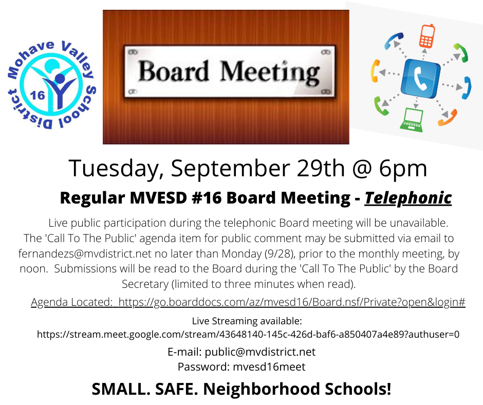 Telephonic Board Meeting - 9/29 @ 6pm