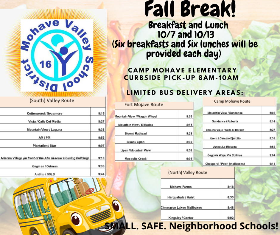 Lunch and Breakfast For Kids Over Fall Break - 10/7 & 10/13
