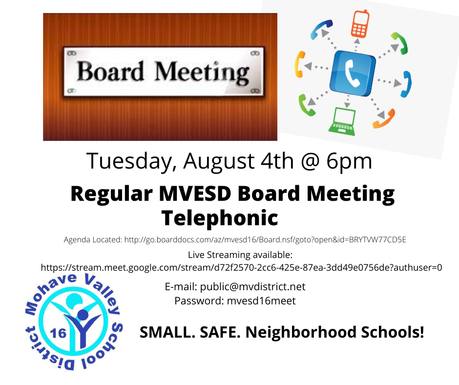 Telephonic Board Meeting - August 4th @ 6pm