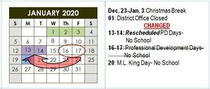 January School Calendar To Change