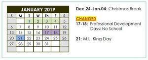 January School Calendar Changed