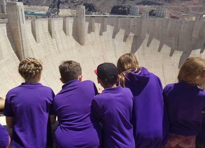 Students looking out at the Hoover Dam