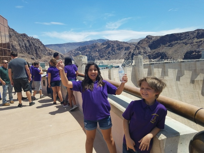 Posing in front of the Hoover Dam