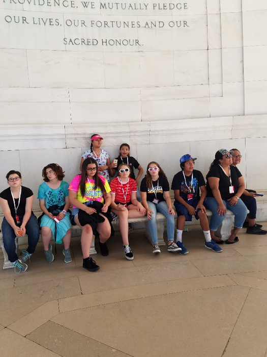 At the Jefferson Memorial.