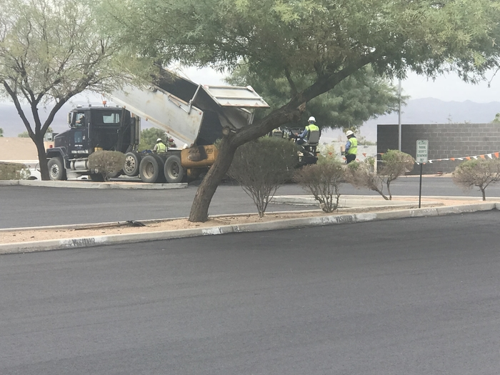 Laying down the asphalt