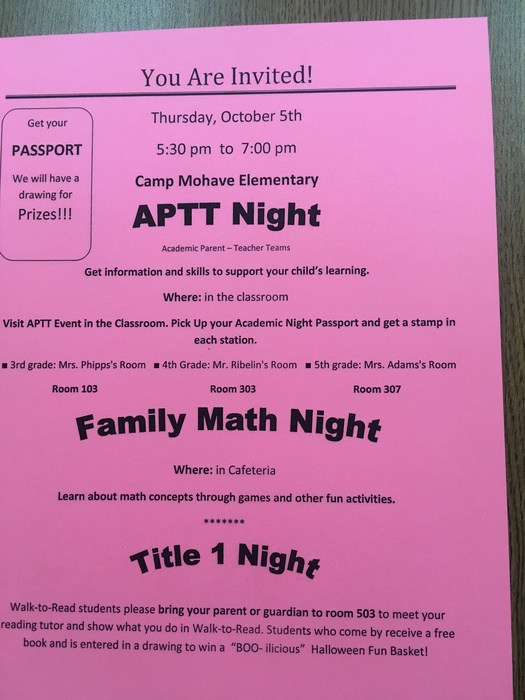 APTT-Family Math Night Flyer