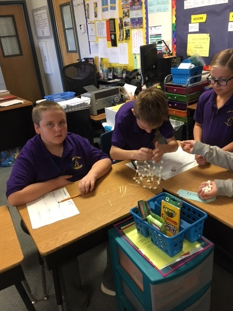 Mrs. Cook's 5th grade class at Camp Mohave build their skyscrapers in a collaborative lesson.