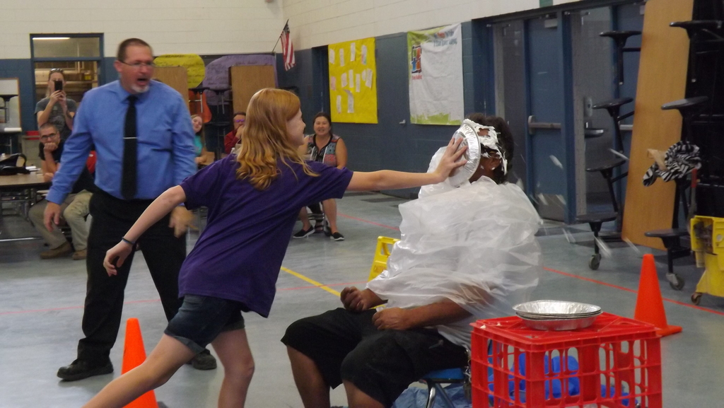 AH with giving Mr. Rick a pie to the face
