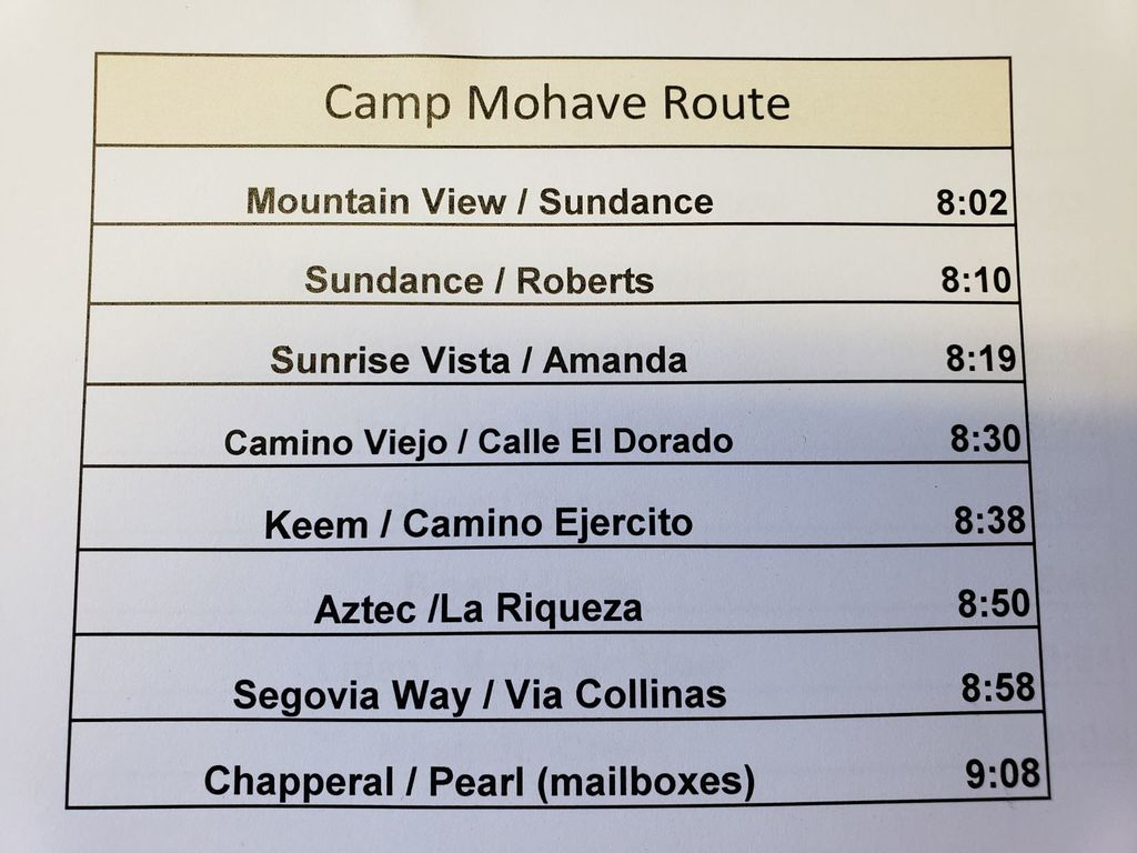 Camp Mohave Food Route Stop and Times