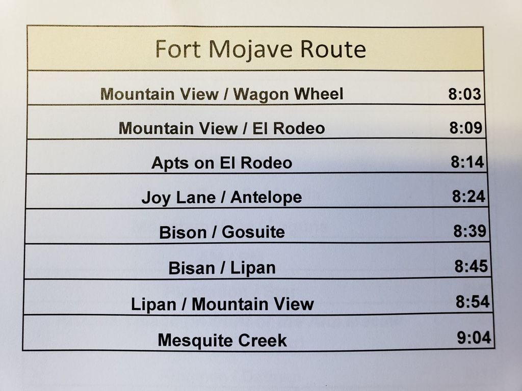 Fort Mojave Food Route Stop and Times
